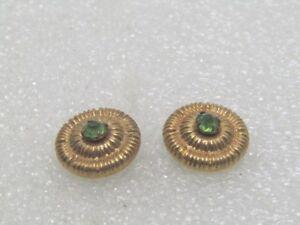 Vintage-Pair-1940-039-s-Circular-Collar-Pins-2-Pins-Green-Stones-14kt-G-F