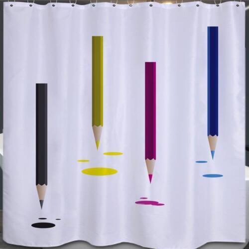 Crayons de couleur avec encre gouttes salle de bains rideau de douche 180cm x 180cm polyester