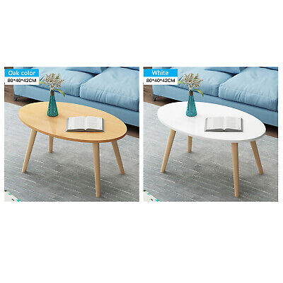 Home Office Oval Coffee Table Living Room Wooden Legs Small Furniture 80x40x42cm Ebay