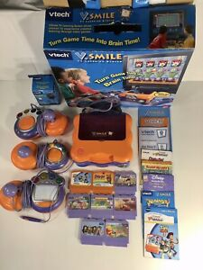VTech-V-Smile-TV-Learning-System-Console-Bundle-W-3-Controllers-And-8-Games-Lot