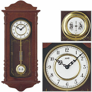 AMS quarzo orologio a pendolo orologio parete legno di noce 4/4 ...