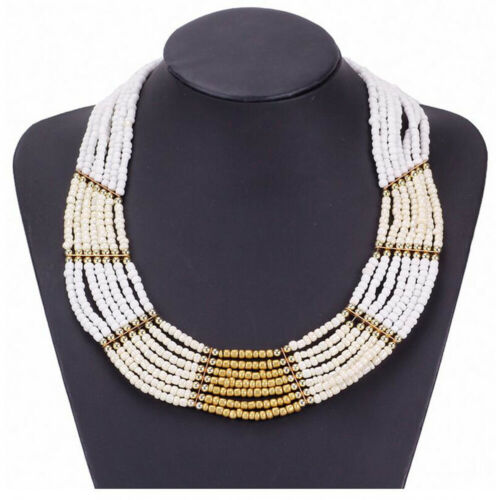 Femmes Boho Statement Chunky Perle Chaîne Collier Tour de cou Bib Collier Charme Jewelry