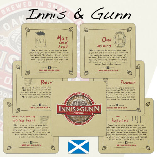 6 Innis /& Gunn Beer Mats Coasters Edinburgh ScotlandRareUnused BS73