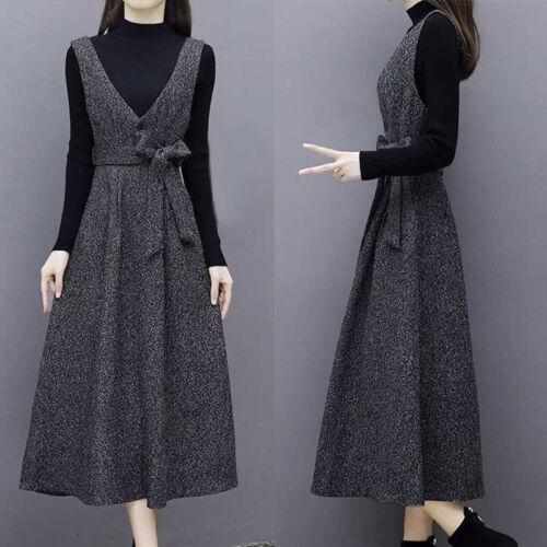 2pcs Damen Slim Langarm Pullover Tops Büroarbeit A-Line Kleid Maixkleid Set Neu