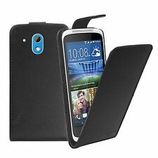 BLACK Leather Flip Case Cover Pouch For Mobile Phone HTC Desire 526G (+2 FILMS)