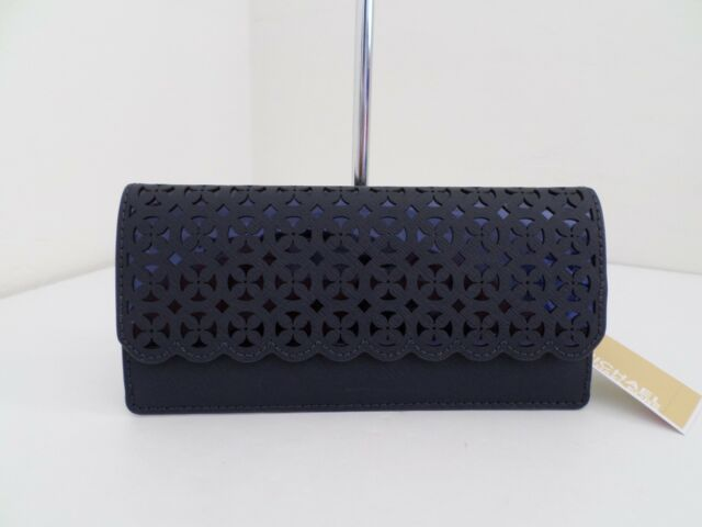 d9d7c9f54f5d NWT AUTH MICHAEL KORS DESI FLAT FLORA PERFORATED LEATHER WALLET-$138-ADMIRAL