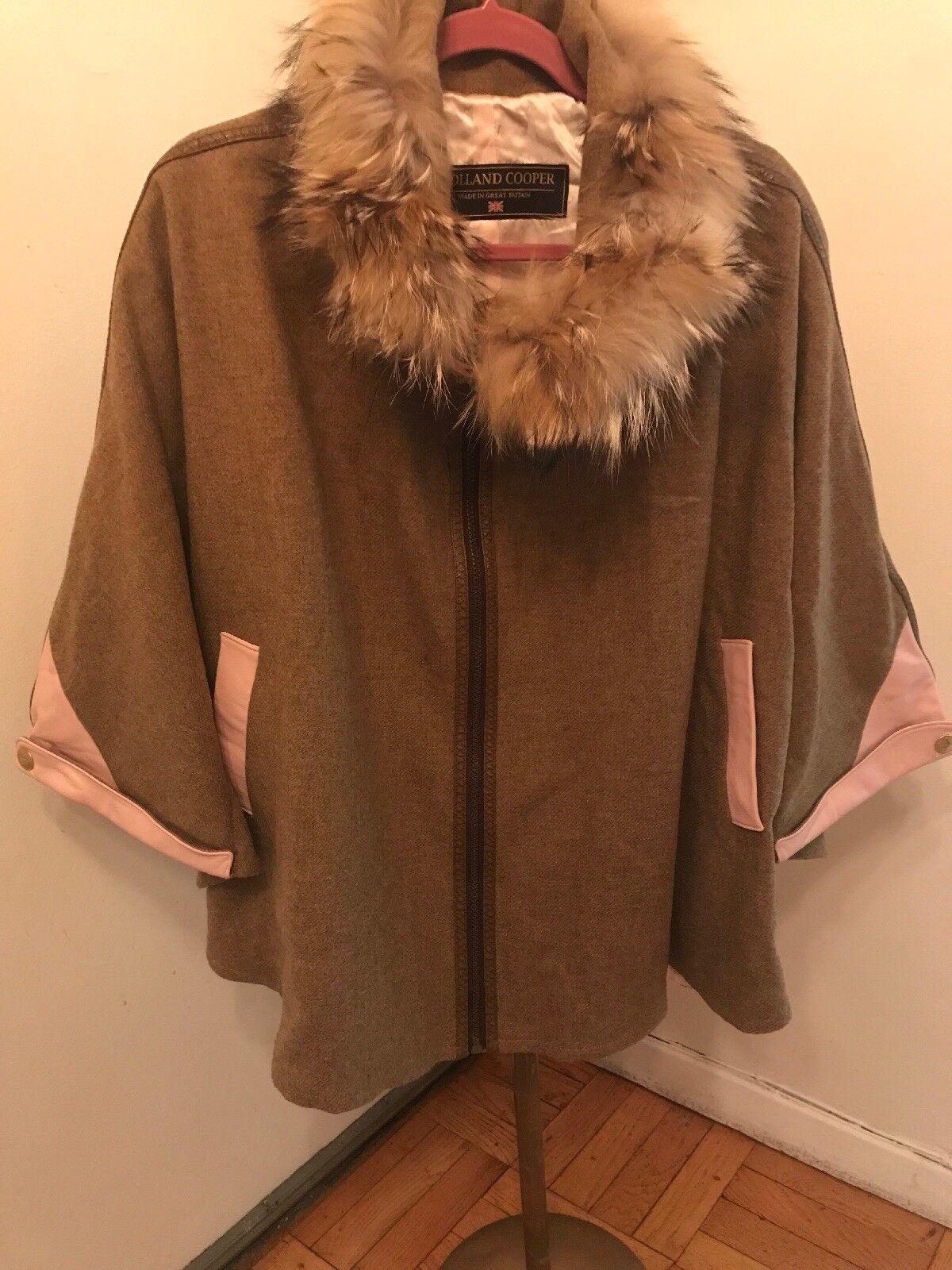 STUNNING HOLLAND COOPER Brown Wool   Pink Leather Trim   Raccoon Fur Collar NWOT