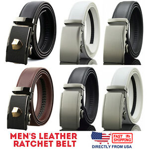 Men-039-s-Genuine-Leather-Exact-Fit-Automatic-Buckle-Ratchet-Business-Dress-Belt