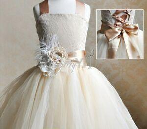 Formal Girls Flower Baby Dress party Princess Wedding Bridesmaid ...