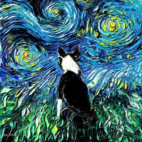 Boston Terrier Sunflowers Wall Art Print Dog Starry Night van Gogh Decor by Aja