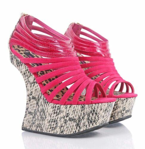 "Fuchsia Open Toe Snake Print Platform Pump Strappy Womens 6"" Funky High Heels"