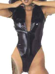 Black-PVC-Leotard-Size-12-Plunge-front-Zip-Crotch-Crotchless-All-In-One-Teddy