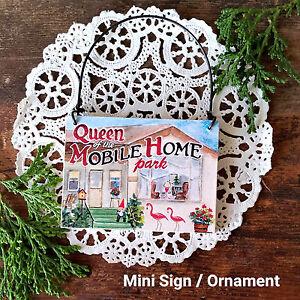 Mini-Sign-Mobile-Home-Queen-Flamingo-RV-Trailer-Gnome-Ornament-Gift-DecoWords