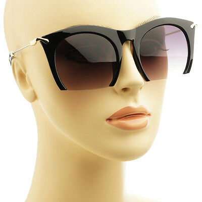 High Fashion Cut Out Frame Retro Womens Large Cat Eye Sunglasses Black