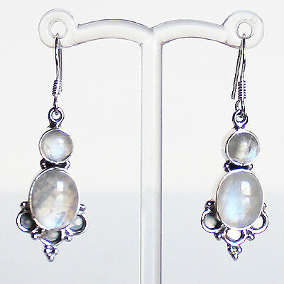 925 Sterling Silver Semi-Precious Natural Moonstone Drop Earrings