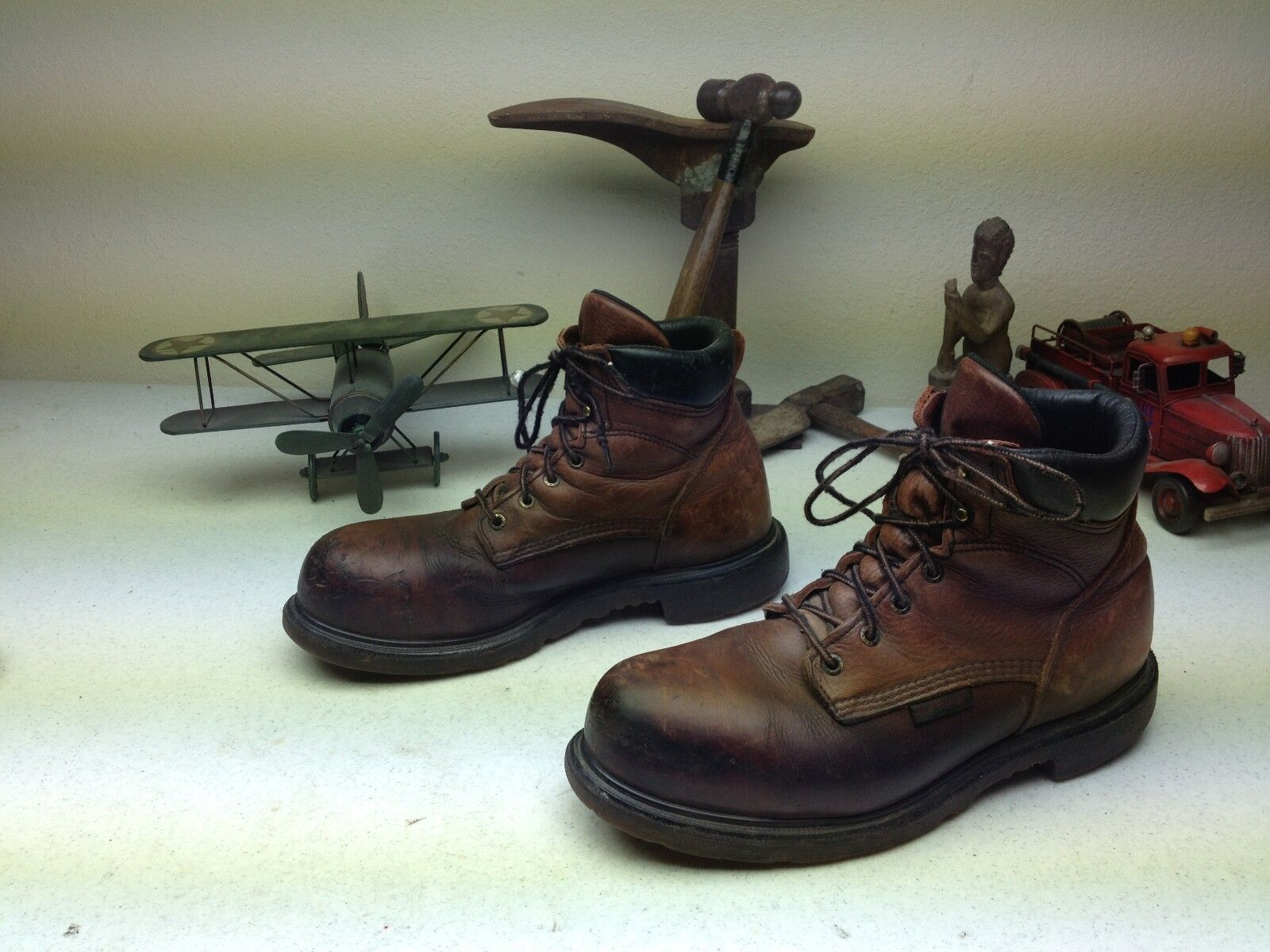 DISTRESSED rosso WING Marrone LEATHER STEEL TOE WORK SAFETY LACE UP stivali 11 EE