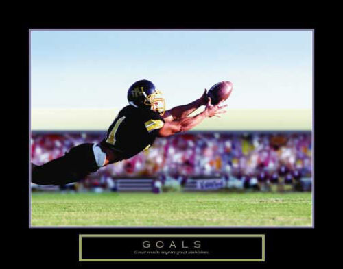 FOOTBALL WIDE RECEIVER DIVING CATCH GOALS Motivational Inspirational POSTER
