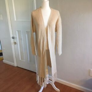 NWT-Annabelle-Chunky-Knit-Full-Length-Cream-Cardigan-Size-Small-Medium