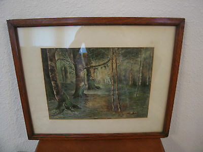 Vintage Antique Signed Watercolor Forest Woodlands Landscape Painting
