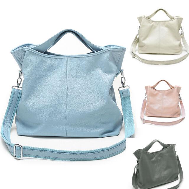 DUDU Women's Genuine Real Leather Handbag Tote Shoulder Shopping Bag Purse