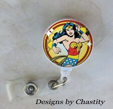 Wonder Woman Badge Reel Retractable Holder Belt Clip ID Teacher RN Nurse Retro