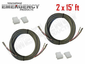 2x-15-039-ft-Strobe-Cable-3-Conductor-Wire-AMP-Power-Supply-w-Connector-for-Whelen