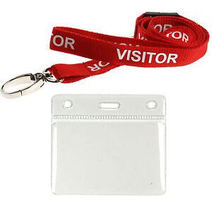 Visitor-Lanyard-Neck-Strap-Metal-Lobster-Clip-amp-Medium-ID-Card-Pocket-Lot
