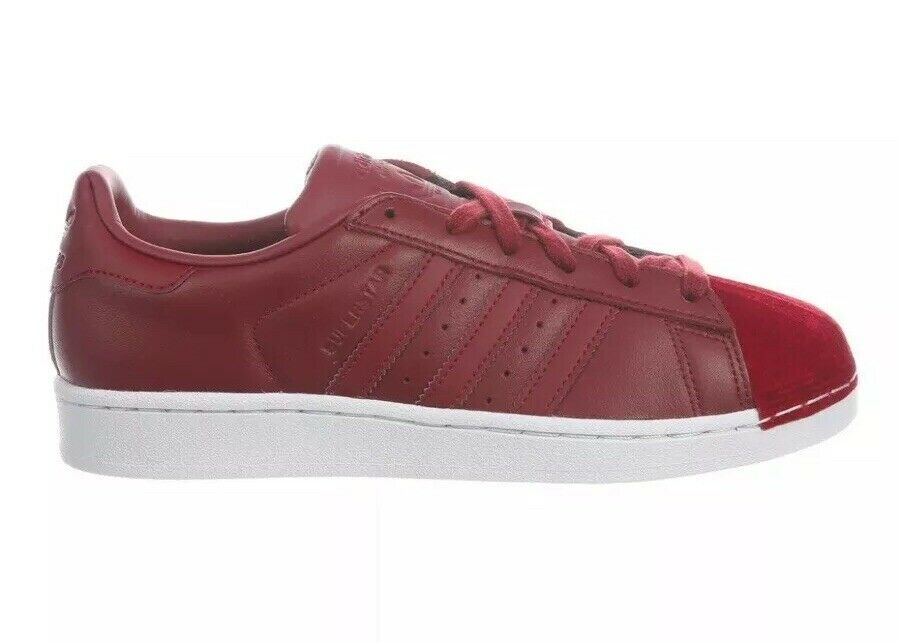 Adidas Superstar Women's Size 6 Burgundy White Leather Shell Toe shoes BZ0644