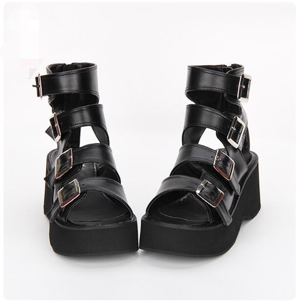 Mujeres Peep Toe Zapatos De Tacón Bloque Bloque Bloque Punk Gótico Hebilla Correa De Plataforma Zapatos Moda D640  popular