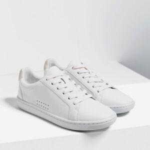 Zara Woman White Lace-Up Plimsolls Size
