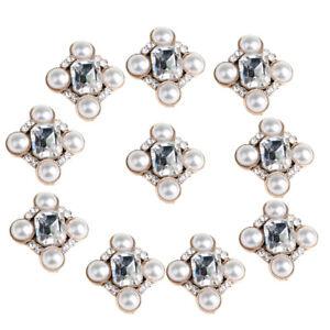 10pcs Craft Pearl Rhinestone Buttons Flatbacks Wedding Embellishment Jewelry