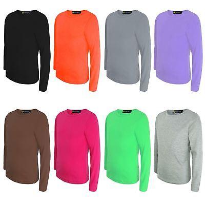 Girls Boys Plain Long Sleeve School Basic TOP School 52/% Cotton Kids T-Shirt Tops Crew Neck Uniform Jumper 4-5, Charcoal