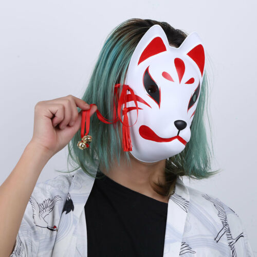 Japanese Hand Made Fox Cosplay Full Face Mask w//Tassel Small Bell Masquerade PVC