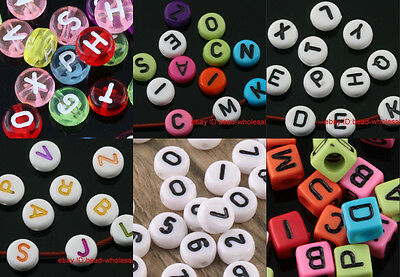 100-150pcs Lots Mixed color Acrylic Letter Spacer Beads Round &Square Findings