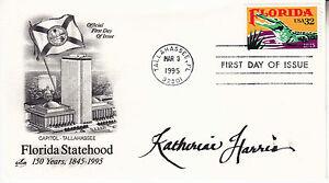 KATHERINE HARRIS (1957-) hand signed 1995 FDC autographed - Florida Statehood \