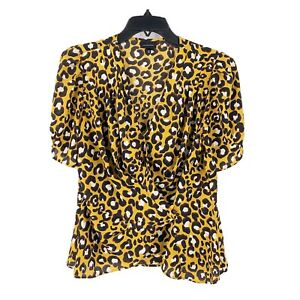 Who-What-Wear-Animal-Print-Blouse-Short-Sleeve-Size-Medium