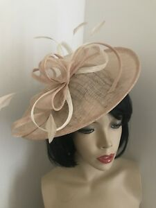Image is loading Nude-Beige-amp-ivory-cream-Fascinator-Feather-Saucer- d7a98044959