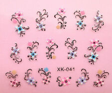 Nail Art 3D Decal Stickers Colorful Flowers with Rhinestones XF643