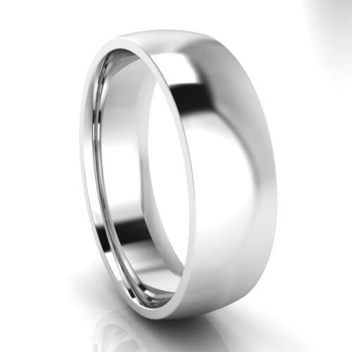 Nuevo 9ct oro blanco en forma de ley COMFORT FIT WEDDING tribunal Anillo banda