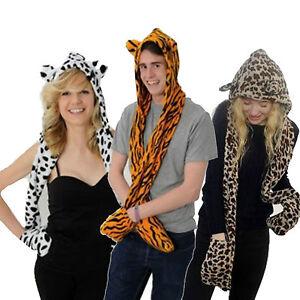 Ladies-Mens-Animal-Fur-Head-Trapper-Hat-Hood-Scarf-Snood-Gloves-Beanie