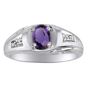 Diamond /& Amethyst Ring Sterling Silver or Yellow Gold Plated