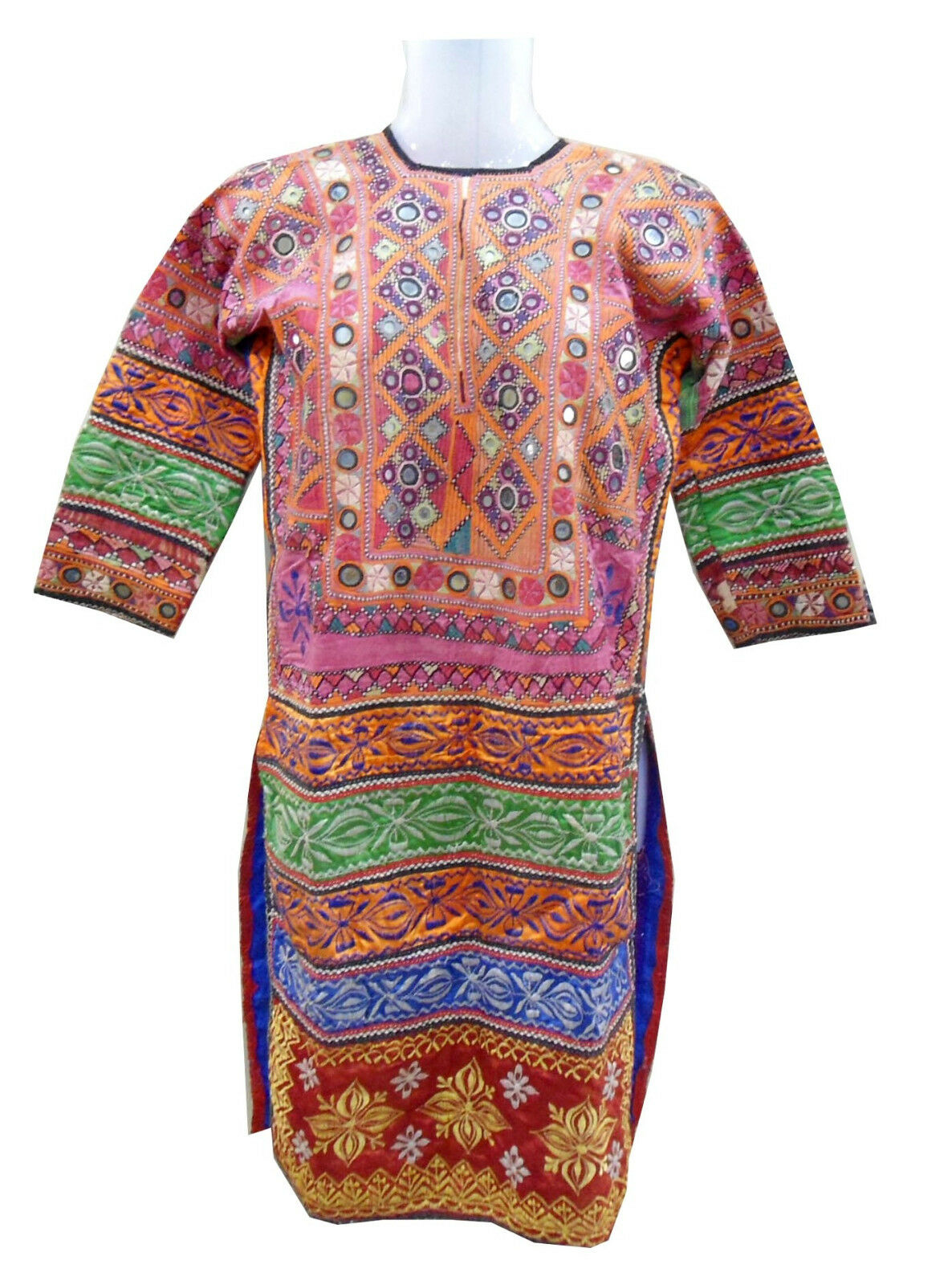 Vintage Embroidery Textile Kurta With Mirror & Jari Work Tunic From Indian Tribe