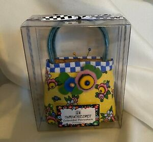 Mary-Engelbreit-Collectible-Pincushion-Checkers-Floral-Blue-Yellow-New