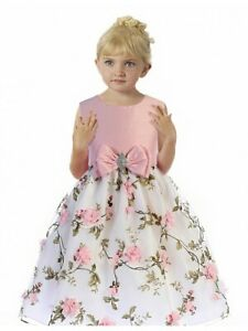 Posh-Pink-White-Floral-Embroidered-Flower-Girl-Holiday-Dress-Crayon-Kids-USA