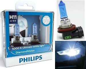 Philips-Diamond-Vision-White-5000K-H11-55W-Two-Bulbs-Head-Light-Low-Beam-Replace