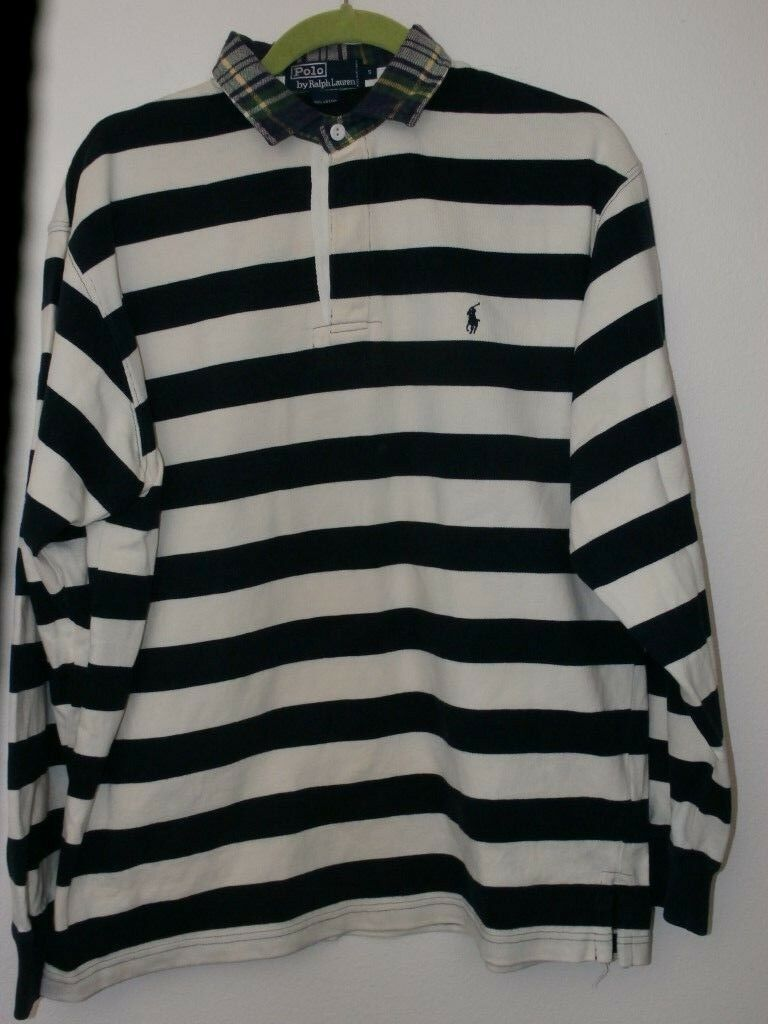 4dbfd5a3 Ralph Lauren Polo Rugby Shirt Men SM 90s Vintage Stripes Plaid Collar Navy  White