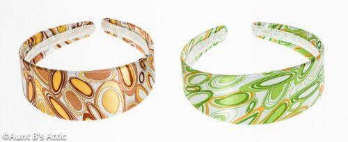 60/'s-70/'s Retro Style Headband Satin Print Fabric /& Plastic Patterned Headband