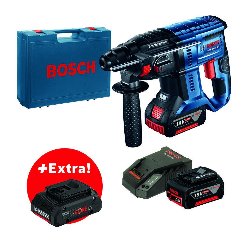 Bosch Akku-Bohrhammer GBH 18V-20 + 2 x 5,0-Ah-Akku + ProCORE 18V 4.0Ah im Koffer