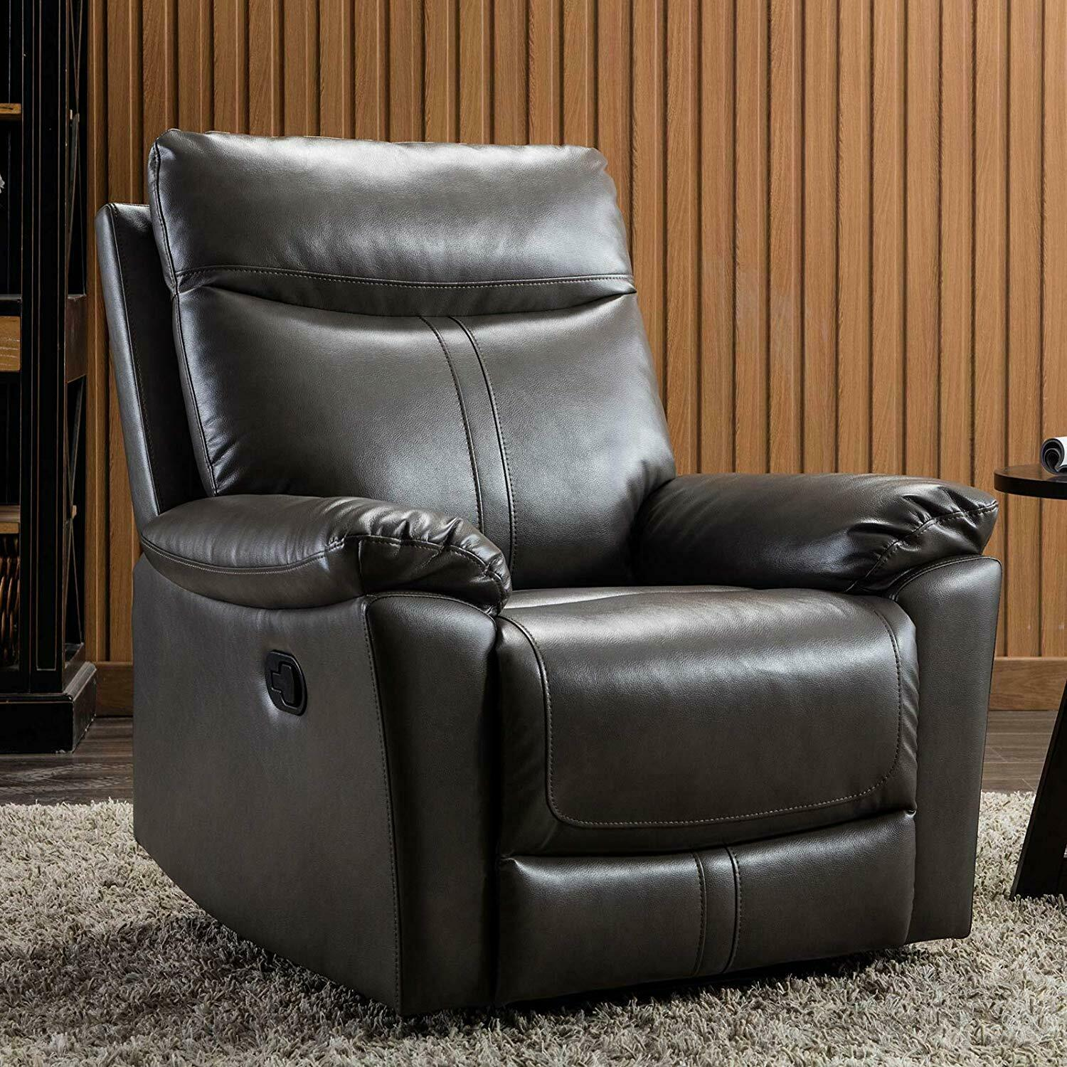 Manual Recliner Chair PU Leather Sofa Padded Durable Living Room Reclining Chair