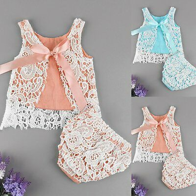 Newborn Kids Baby Girls Outfits Clothes Lace T-shirt Tops +Shorts Pants 2PCS Set